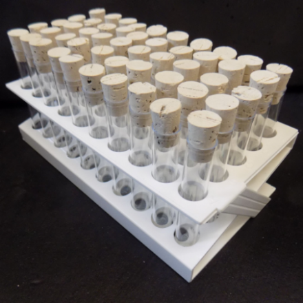 50 x 75 x 12 mm Ø PS Test tubes with Cork Stoppers and White tray